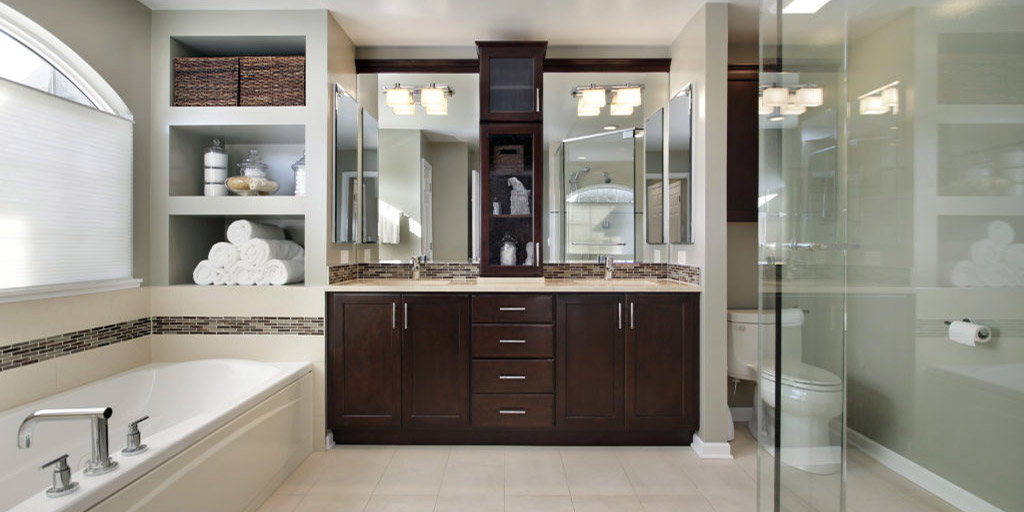 After bathroom remodel - Master bath in luxury home with dark wood cabinetry